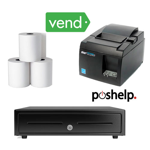 Vend POS Bundle 1 star printer cash drawer register rolls
